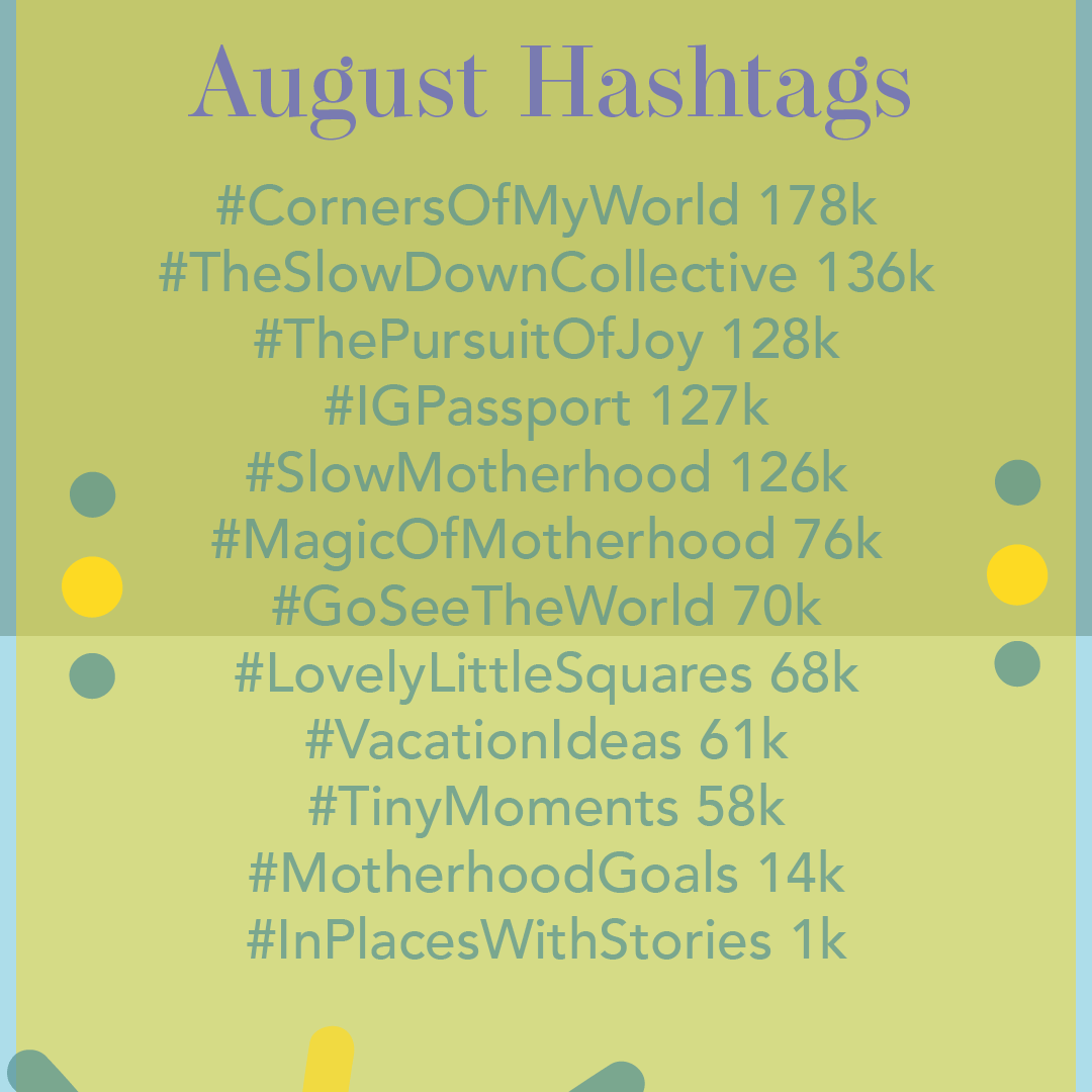 August 2019 Hashtags