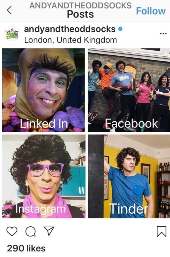 Andy Day form Cbeebies sharing great content on his Instagram page - theDolly Parton Challenge