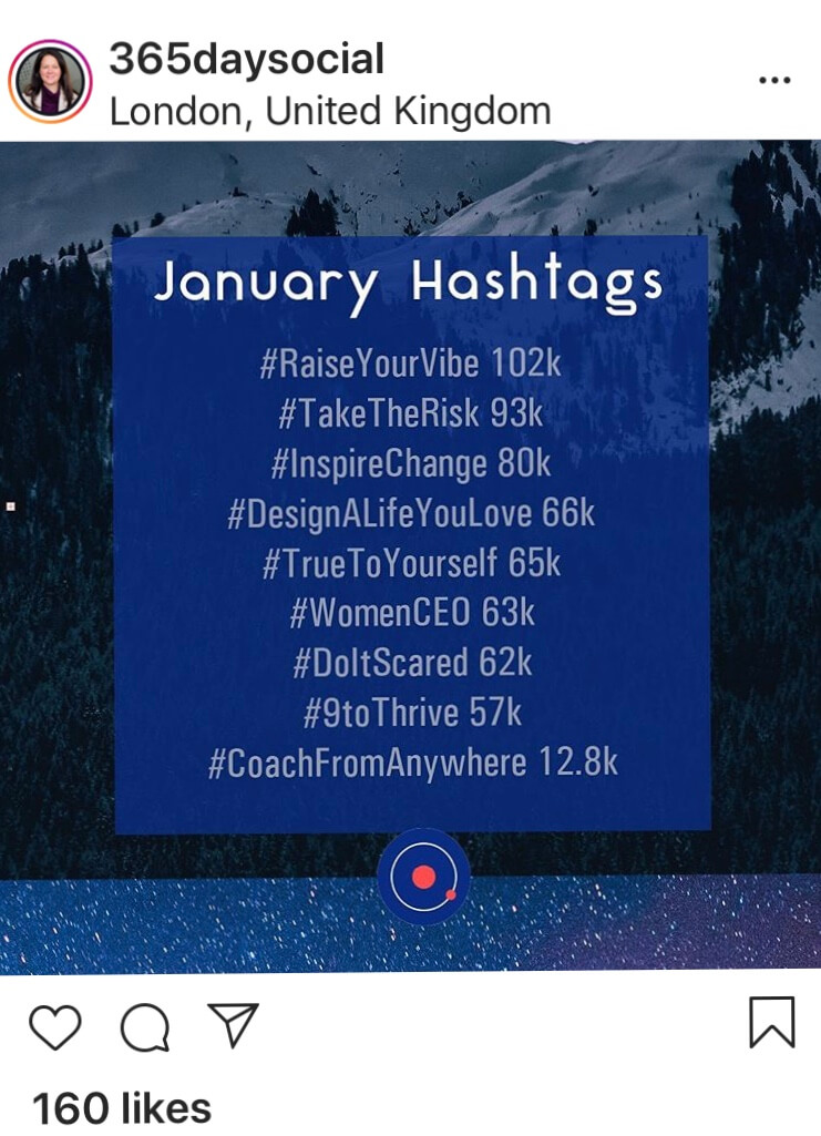 Each month I share a 'listical' of hashtags. Here are the hashtags that are popular in January. Ones that are likely to get engagement