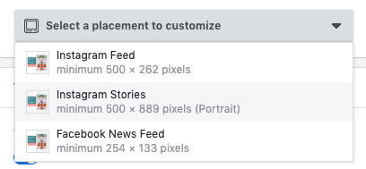 How to customise a placement of an Ad on Facebook or Instagram
