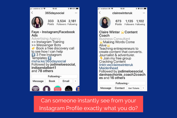 Examples of Instagram Profiles that show clearly what someone offers. Their product or service.