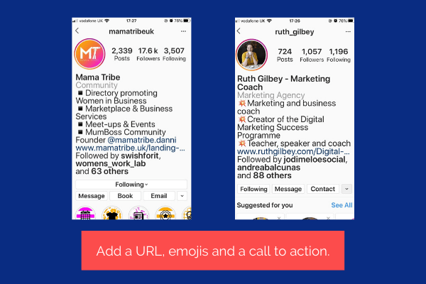 Examples of Instagram accounts with impact. Accounts that use URLs, emojis and call to action buttons